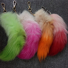 New arrival plush fox fur tails handbag accessories hairy keychain