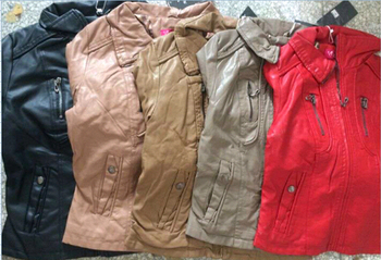 wholesale cheap surplus stock discount lady's pu jackets in 5colors overrun stocklots