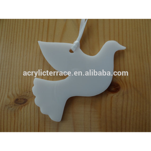 White Acrylic Dove Ornaments, Lucite Christmas Tree Decors