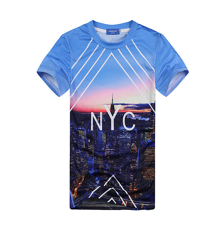 d168253909c5 Get Quotations · NYC Night scene 3d print fashion women men s T-shirts blue  casual o-