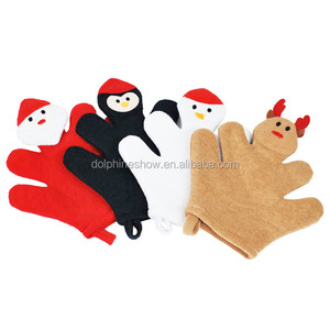 Christmas Promotional Gift Kids Puppets Bath Wash Mitt Cloth For Bathing Baby