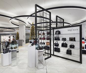 Retail Handbag Store Wooden Corner Showcase Modern Shop Counter