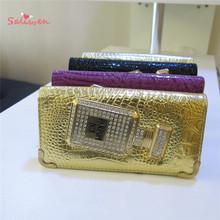 2015 New Fashion  Perfume Bottles PU Gold Women Wallets Purse Clutch Bag Carteira Feminina Billeteras Mujer Estojo aj begs