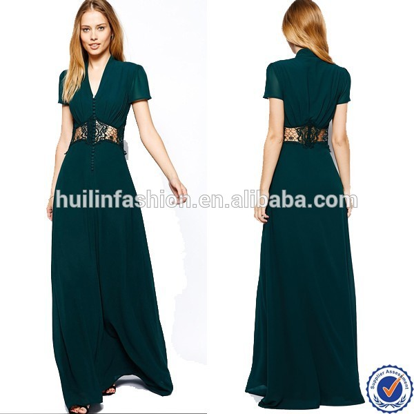 V Neck Maxi Casual Dress With Cap Sleeve And Lace Insert In Bottle