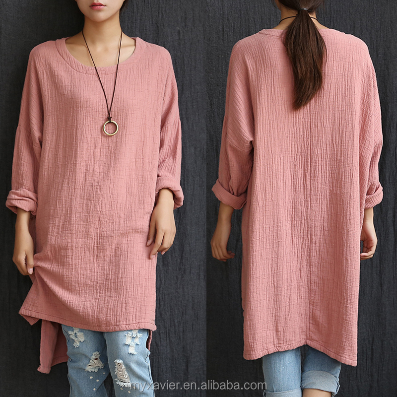 2016 Solid Loose O-Neck Cotton Linen Casual Cute Korean Style dress