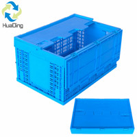 Wholesale foldable plastic fruit crates with lids China supplier