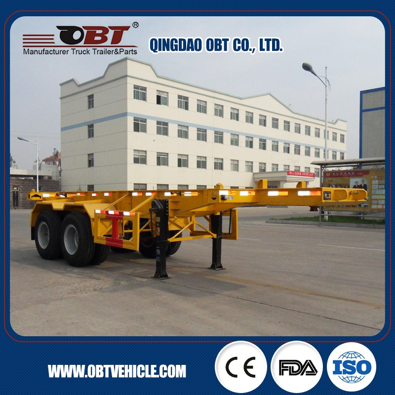 Factory Price 3 Axles 40 ft Skeleton Container Trailer , 20 ft Skeleton Semi Trailer Container Chassis