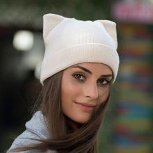 YIFEI Solid Mujeres Otoño Invierno Sombrero Hecho Punto Lindo Gatito Beanie  Hat para el Invierno Muchacha 1e159b987fd