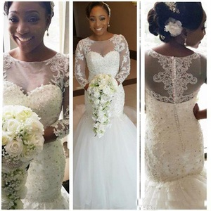 LL036 Beaded Tulle Sexy Vintage Lace African Wedding Gowns Long Sleeve Mermaid Wedding Dresses For Black Women