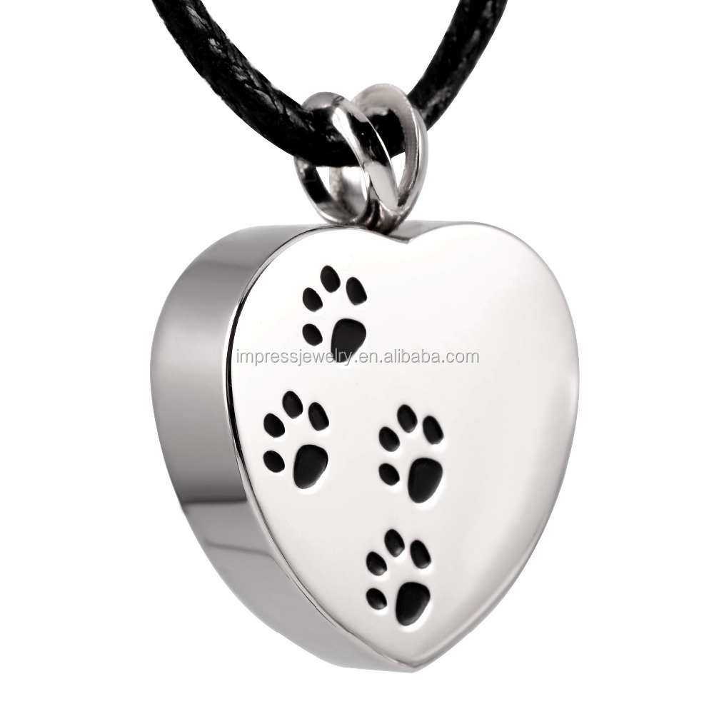 IJD8004 Cheap Wholesale 316L Stainless Steel Pet Paw print in my heart Memorial Urn Keepsake jewelry for cremation ashes