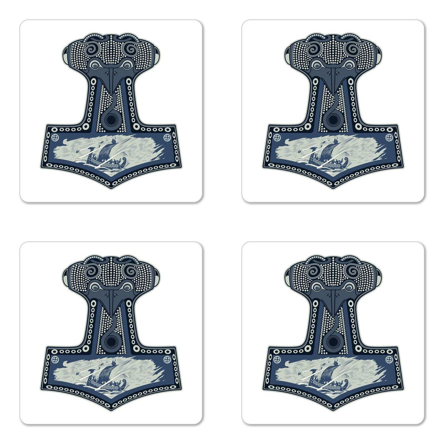 Lunarable Viking Coaster Set of Four, Scandinavian Folklore Motifs Northern Germanic Culture Mjollnir, Square Hardboard Gloss Coasters for Drinks, Blue Grey Navy Blue Slate Blue