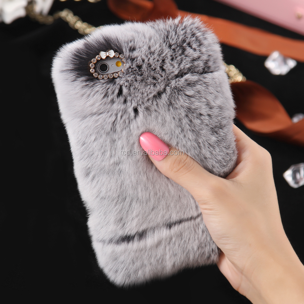 newest 7 colors wholesale Cozy fur phone case manufacturer <strong>hot</strong> pink s6 for girls for s7/s7 edge