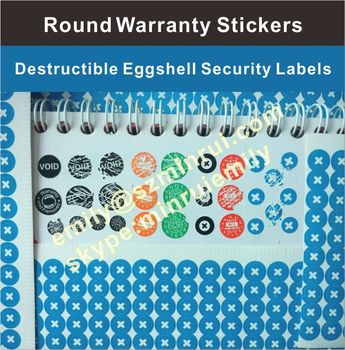 Custom tiny round security self destructive calibration tamper evidents sticker seals