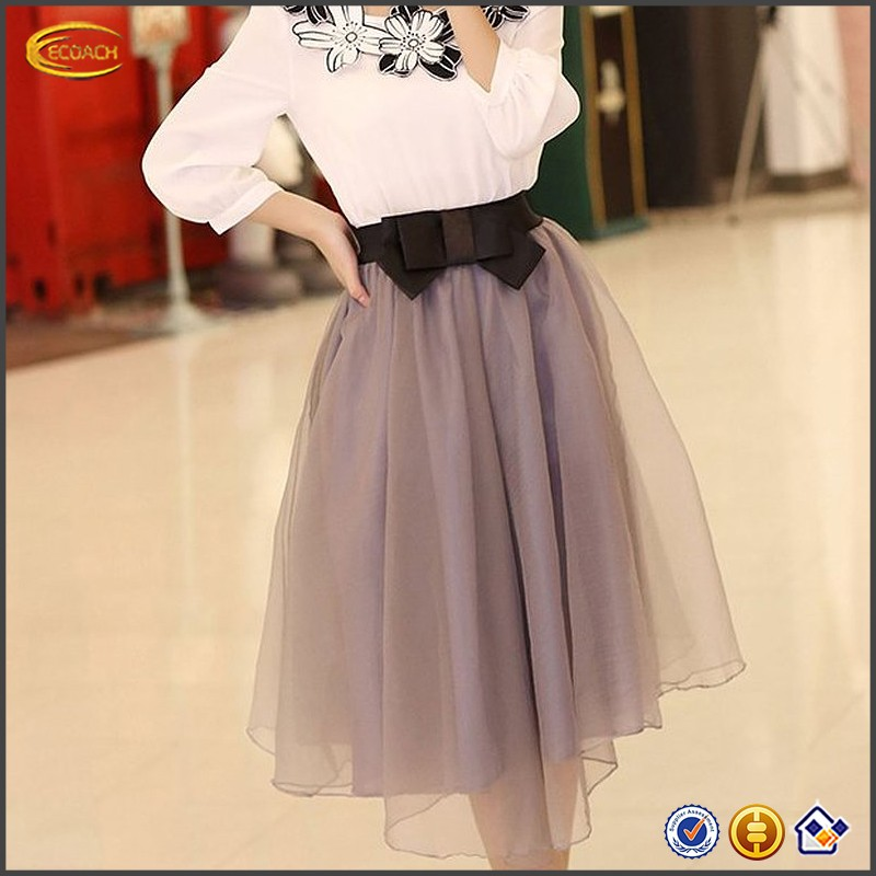 Ecoach Wholesale OEM European Lady's Organza Princess Satin Silk Lining Skirt Bowknot Pleated Trendy Midi Knee Length Skirts