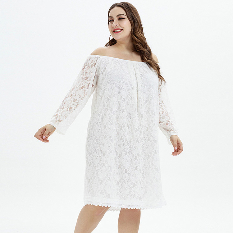 Stylish Simple Long Sleeve Off Shoulder White Lace Dress Plus Size Clothing For Women