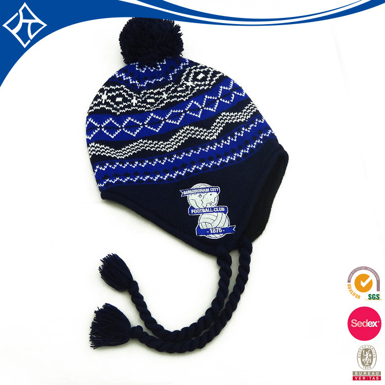 wholesale cashmere cartoon character beanie hat with two ball