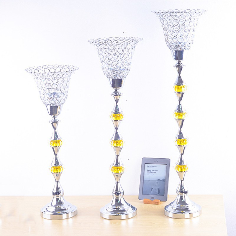 European style luxury electroplating decoration Home Furnishing iron plated crystal glass candle holders for home decor