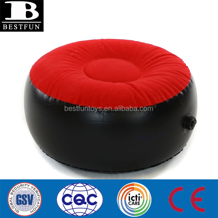 heavy-duty flocked PVC inflatable stool durable inflatable yoga cushion folding inflatable footstool ottoman