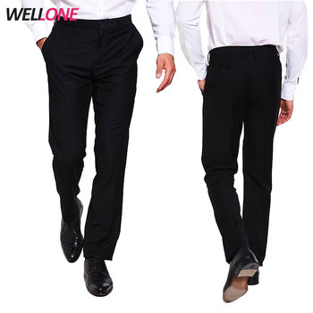 6c278214d Wellone casual 100%polyester black office business top quality blank  uniform men formal pants designs