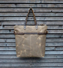 Vintage Canvas Tote Bag With Leather Handle And Leather Strap