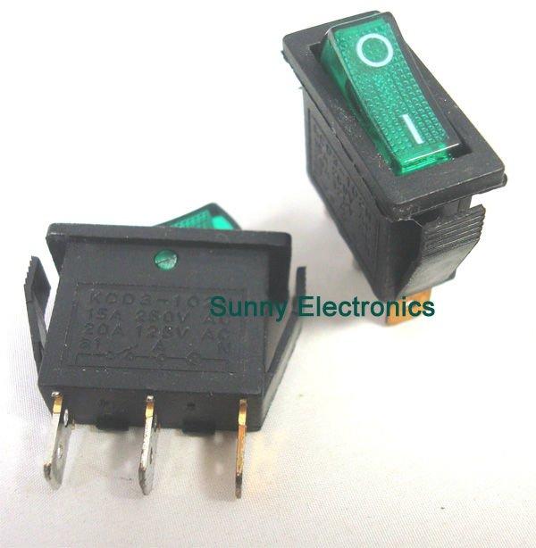 Uptell Single Pole Single Throw Green Light Rocker Switch AC 15A 250V 125V 20A 5 Pcs