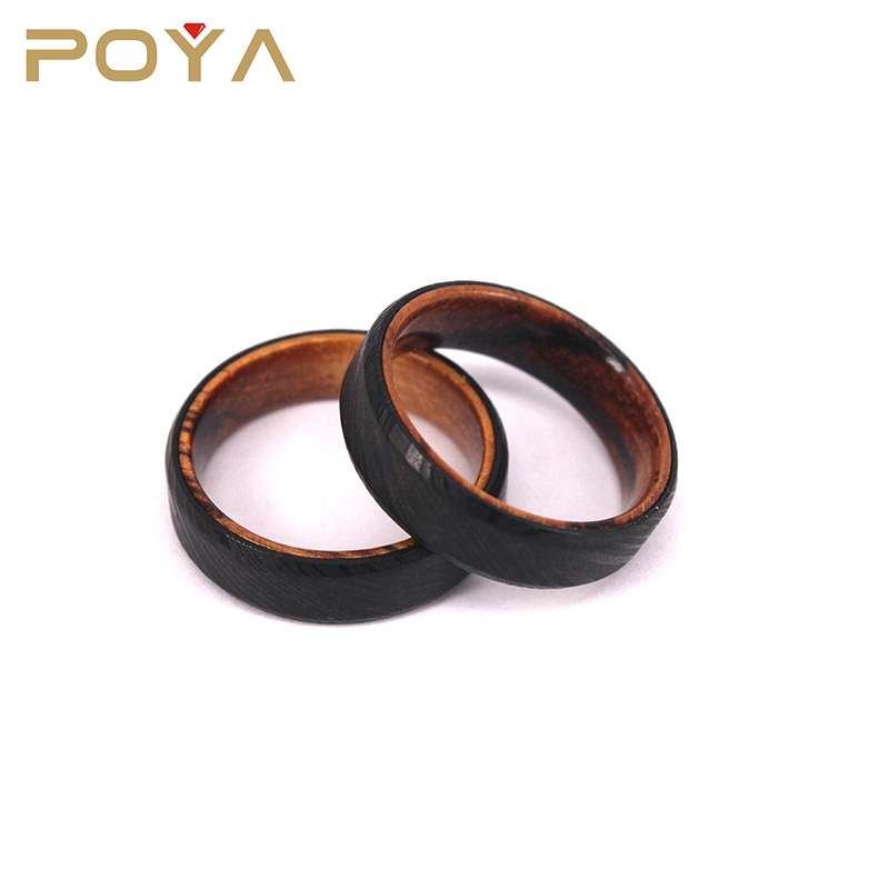 POYA Jewelry Latest Design 6mm Black Damascus Steel Wedding Engagement Ring With Wood Sleeve Inlay For Mens Womens