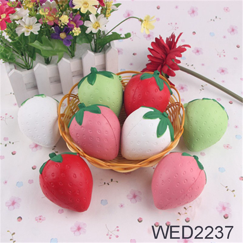 1PCS New Slow Rising Squishy Kawaii 8*6CM Pink/Red/White/green Strawberry Cell Phone Charms Pendant PU Stress Strawberry
