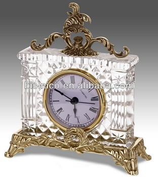 Luxury Hot Selling Crystal Bronze Table Clock, Elegant Crystal Clock With  Brass Base,