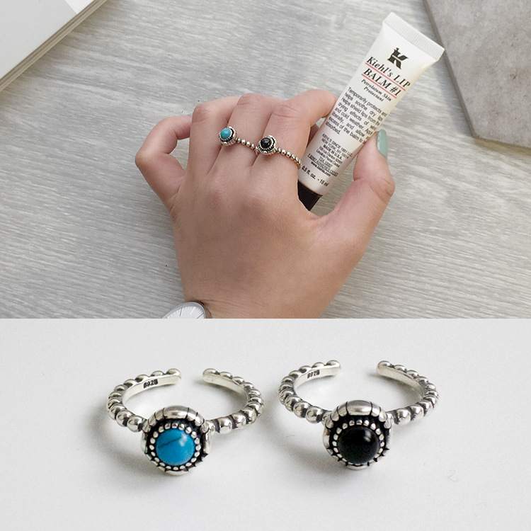 Latest Model 925 Sterling Silver Ring With <strong>Black</strong> And Blue Agate Finger Ring