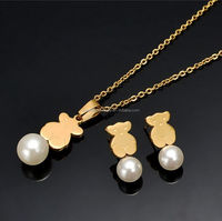 Alibaba 18k Africa gold plated bear charms Imitation pearl necklace jewelry set for wedding SSS--047