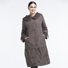 Astrid 2014 Woman's coat high quality spring autumn wintertrench Flowers slim Hooded fleece fashion  big size