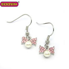 CUTE Pink Bowknot Bow Imitation Pearl Girls Earring Wholesale