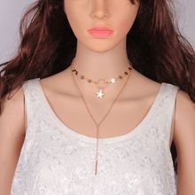 C0108 Barlaycs Sexy contracted street snap Handmade sequins stars tassel clavicle necklace Glitter stars metal pendant necklace