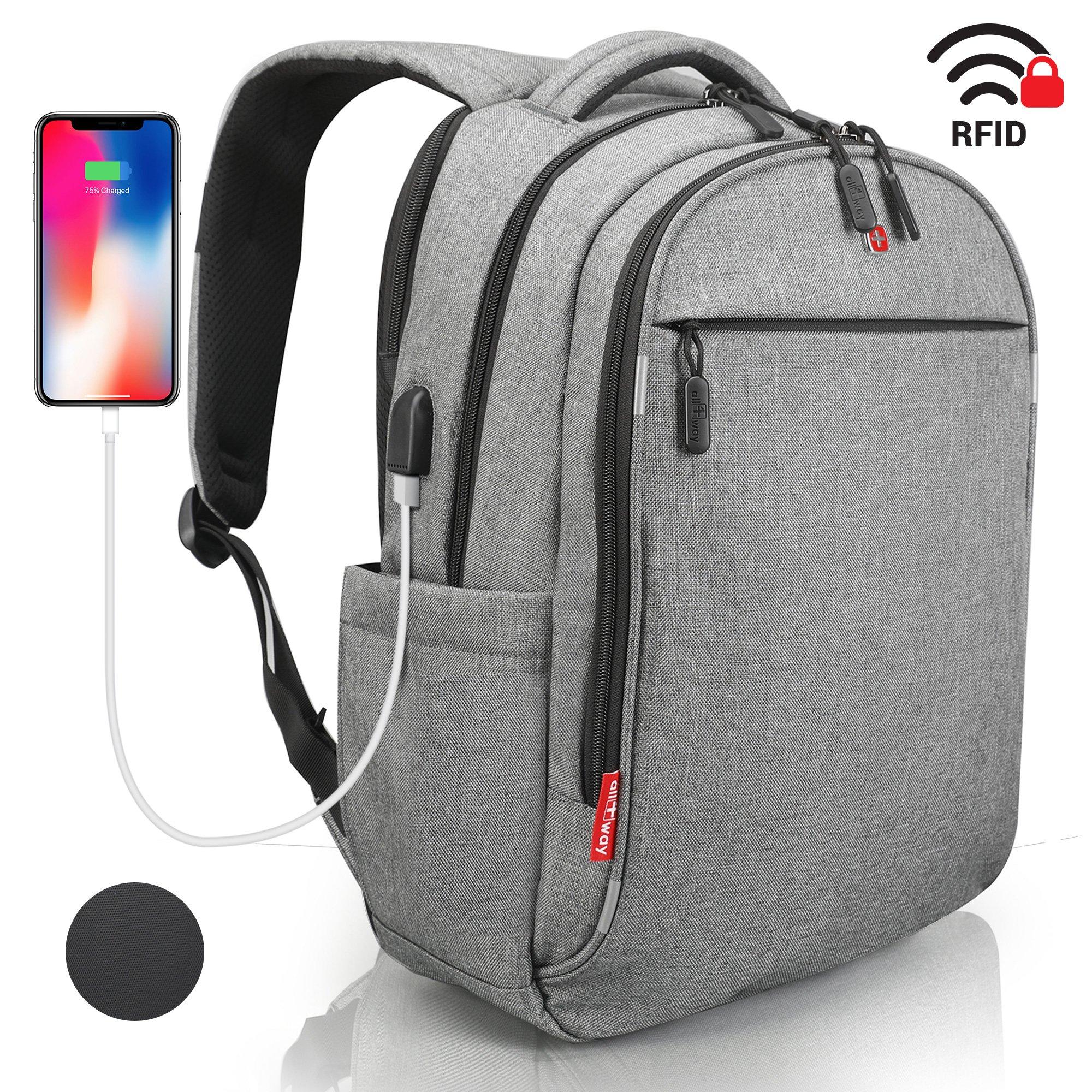 Grey Waterproof USB RFID Backpack - Anti Theft Laptop Travel Backpack - SWISS Design - Business College School Backpack - Backpack for Men Women 15.6 inch