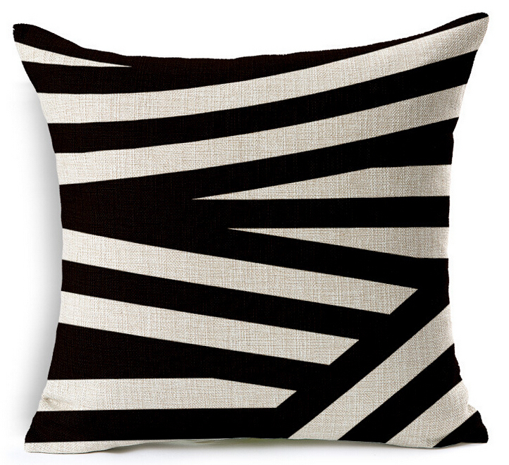 0601L- 13 black and white classic geometric pattern cushion cover
