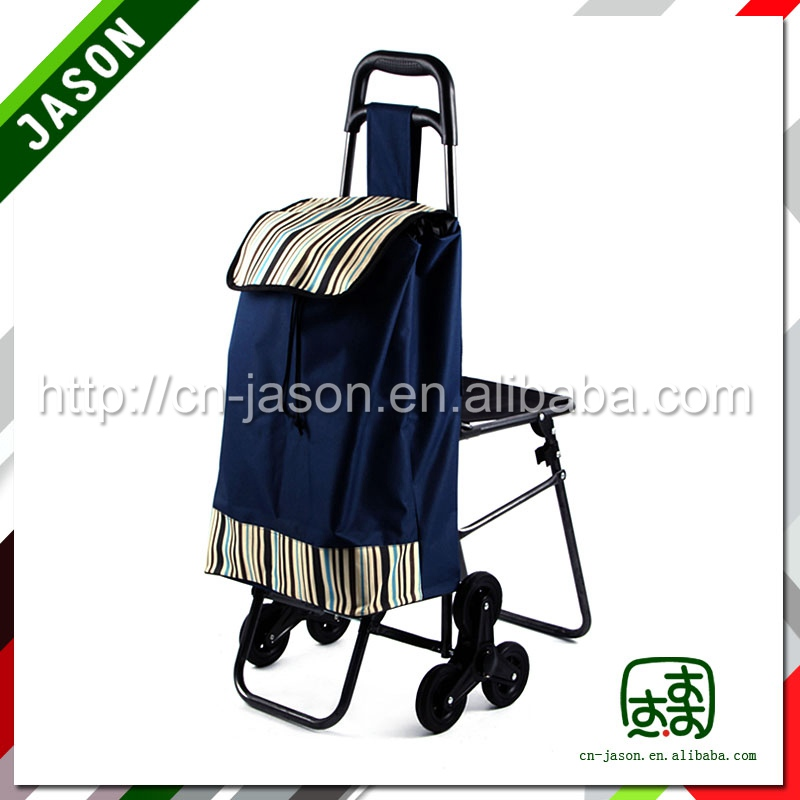 Pooyo 600D folding shopping cart with seat C3