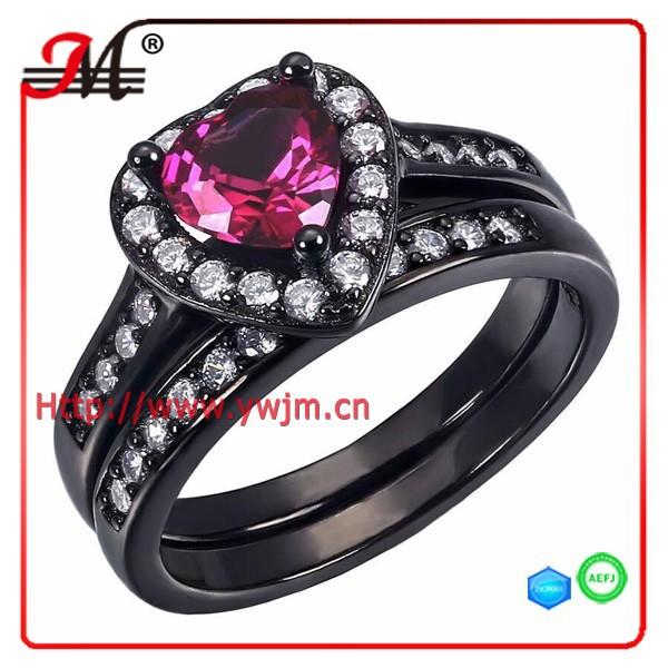 R7979B Fashion black gold lady clear cz rose red heart diamond ring band set