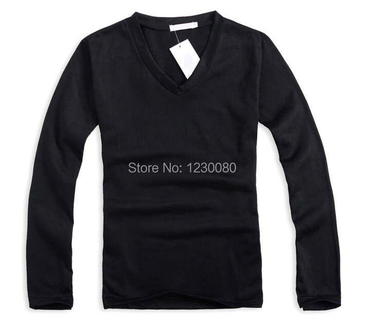 2104HOT мода мужская футболка сексуальные ти v-образным вырезом с длинным рукавом топ уменьшают подходящую M-XXL топы тис 9 цветов