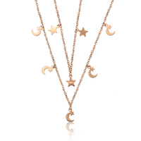 45627 Xuping Wholesale dainty pendant charm rose gold necklace jewelry moon and star necklace