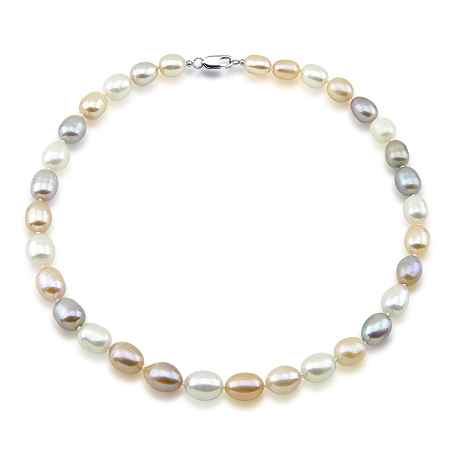 Multi-Color Rice Freshwater Cultured Pearl Necklace 9-10mm pearls, 20 inches
