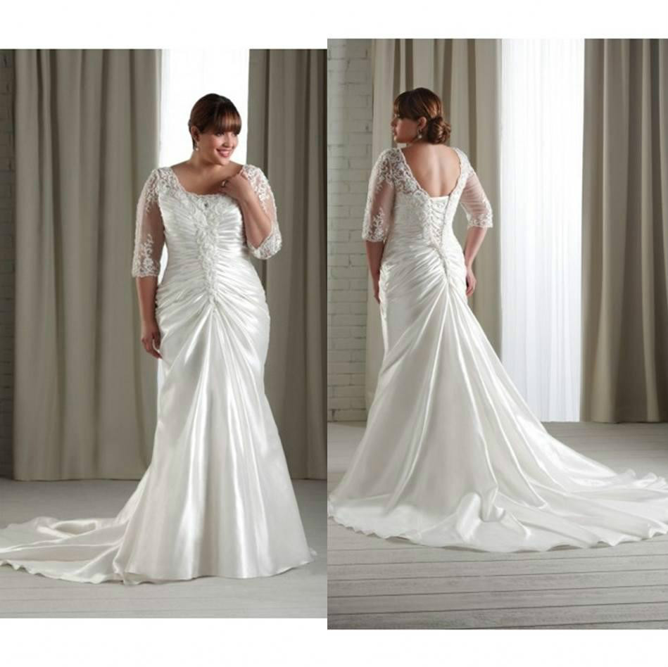 Backless Wedding Gowns: DAW2913-2015-Plus-Size-Lace-Appliques-Backless-Wedding