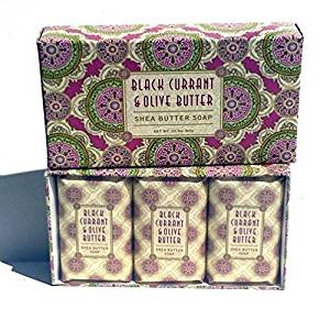 Black Currant & Olive Butter Shea Butter Spa Soap Set by Greenwich Bay Trading Co. Individually Wrapped 3 x 4.3 oz in Gift Box by Greenwich Bay Trading Company