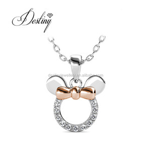 Destiny Jewellery best sell baby jewelry S925 sterling sliver necklace micky mouse pendant with Crystal from Swarovski