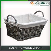 Folding Bamboo Gray Easter Animal Wicker Basket