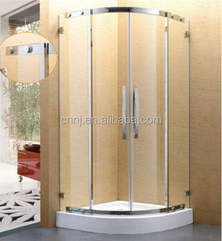 (8936) Stainless Steel Corner Shower Curved Glass Door