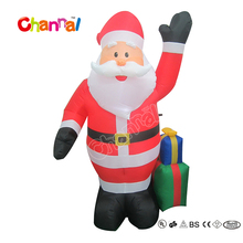 Popular Sale Christmas Santa Claus Inflatable Christmas Blow Up with Gift Box