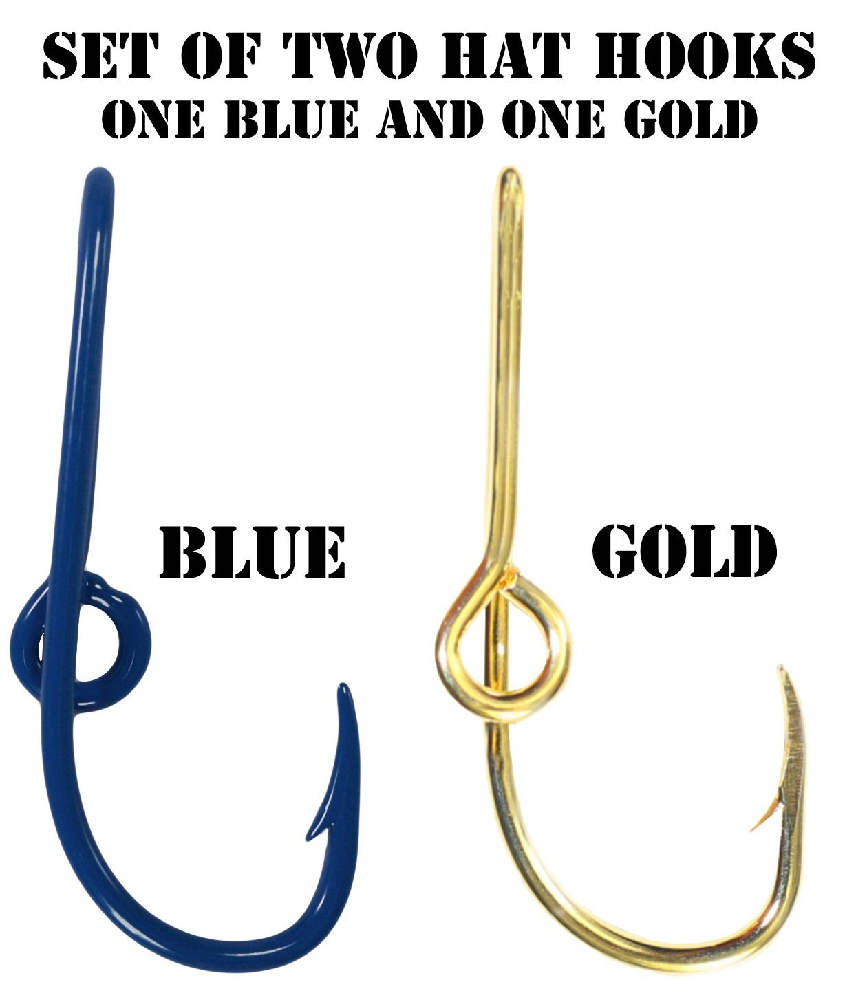 Eagle Claw Hat Fish Hook Set of Two Hat Hooks One Blue Hat Hook and One Gold Fish Hook Plus a FREE Decal Hat Fish Hook for Cap