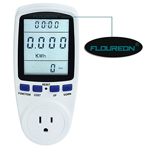 FLOUREON Power Meter Energy Power Monitor LCD Display AC 110V~130V 15A Max US Socket Power Consumption Cost Meter Watt Voltage Amp Meter Calculator Analyzer