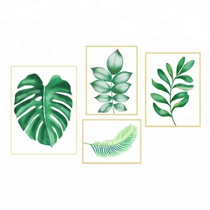 Hot Selling Canvas Art Prints Watercolor Green Plants Wall Pictures for Living Room
