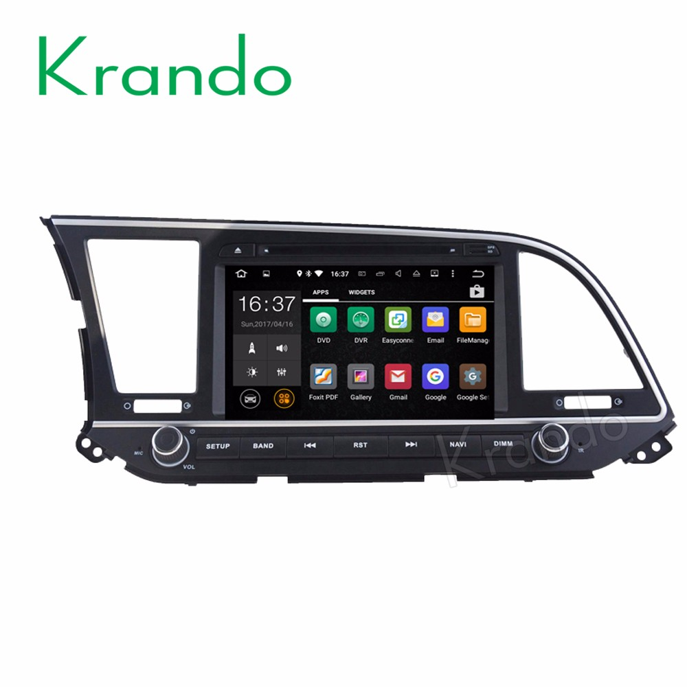 Krando Android 7.1 car radio gps navigation system for hyundai elantra 2016 2017 car dvd player multimedia system KD-HY816